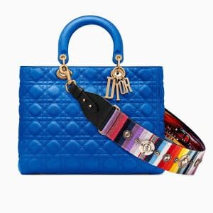 Dior Blue Lady Dior Bag with Multicolor Embroidered Strap