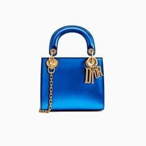 Dior Blue Metallic Calfskin Mini Lady Dior Bag with Chain