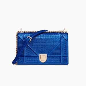 Dior Blue Metallic Micro-Cannage Diorama Bag