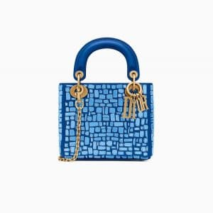 Dior Blue Mosaic Embroidered Mini Lady Dior Bag with Chain
