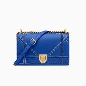Dior Blue Studded Lambskin Diorama Bag