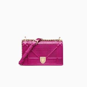 Dior Fuchsia Metallic Micro-Cannage Small Diorama Bag