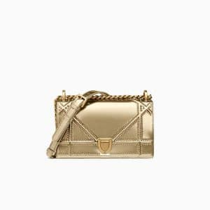 Dior Gold Studded Metallic Calfskin Small Diorama Bag