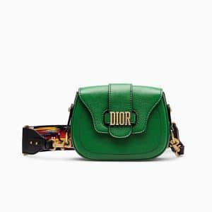 Dior Green D-Fence Saddle Bag with Multicolored Embroidered Strap