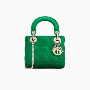 Dior Green Lambskin Mini Lady Dior Bag with Chain