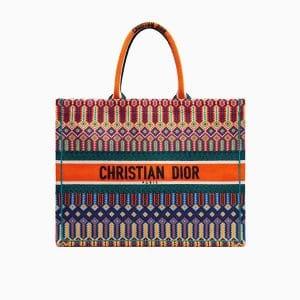 Dior Multi-coloured Embroidered Canvas Book Tote Bag