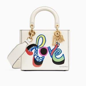 Dior Off-White Élément d'autocollant Print Lady Dior Bag