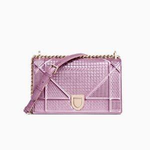 Dior Pink Metallic Micro-Cannage Diorama Bag