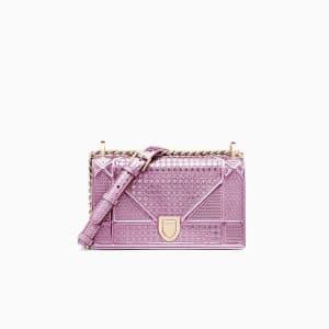 Dior Pink Metallic Micro-Cannage Small Diorama Bag