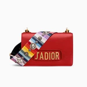 Dior Red J'adior Flap Bag with Multicolored Embroidered Strap