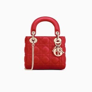Dior Red Lambskin Mini Lady Dior Bag with Chain
