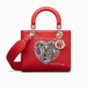 Dior Red Niki de Saint Phalle - Bonn Embroidered Lady Dior Bag