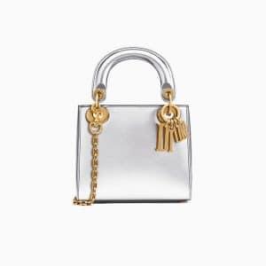 Dior Silver-Tone Metallic Calfskin Mini Lady Dior Bag with Chain