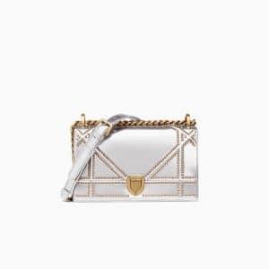 Dior Silver-Tone Studded Metallic Calfskin Small Diorama Bag