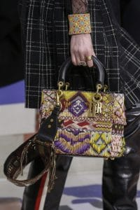 Dior Yellow Multicolor Embroidered Lady Dior Bag 2 - Fall 2018
