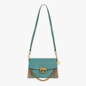 Givenchy Aqua/Taupe Leather/Suede GV3 Small Flap Bag