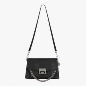 Givenchy Black Leather GV3 Small Flap Bag