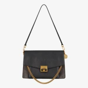 Givenchy Black/Gray Leather/Suede GV3 Medium Flap Bag