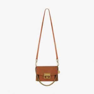 Givenchy Chestnut Leather/Suede GV3 Mini Flap Bag