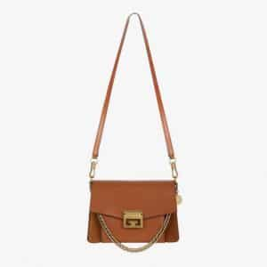 Givenchy Chestnut Leather/Suede GV3 Small Flap Bag