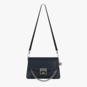 Givenchy Dark Blue Leather GV3 Small Flap Bag