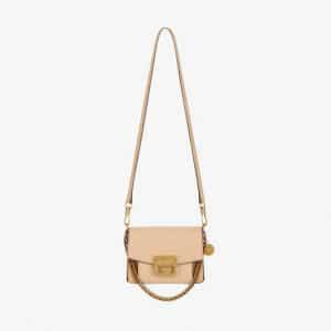 Givenchy Nude/Light Beige Leather/Suede GV3 Mini Flap Bag