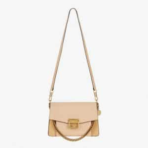 Givenchy Nude/Light Beige Leather/Suede GV3 Small Flap Bag