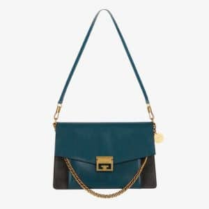 Givenchy Prussian Blue/Gray Leather/Suede GV3 Medium Flap Bag