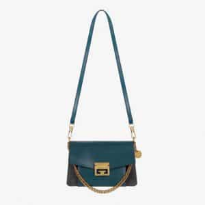 Givenchy Prussian Blue/Gray Leather/Suede GV3 Small Flap Bag