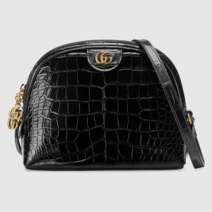 Gucci Black Crocodile Ophidia Dome Shaped Shoulder Bag