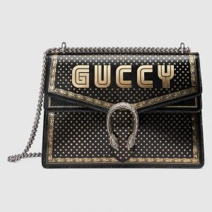 Gucci Black Guccy Print Dionysus Medium Shoulder Bag