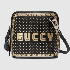 Gucci Black Guccy Print Mini Shoulder Bag