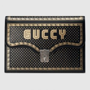 Gucci Black Guccy Print Portfolio Bag