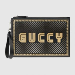 Gucci Black Guccy Print Pouch Bag