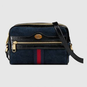 Gucci Blue Suede Ophidia Mini Bag