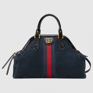 Gucci Blue Suede RE(BELLE) Medium Top Handle Tote Bag