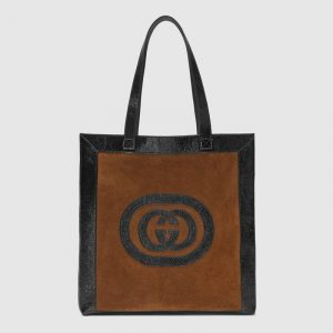 Gucci Chestnut Suede Logo Ophidia Large Tote Bag