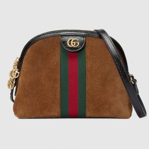 Gucci Chestnut Suede Ophidia Dome Shaped Small Shoulder Bag