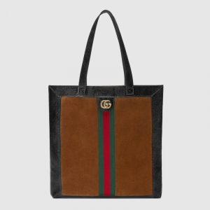 Gucci Chestnut Suede Ophidia Large Tote Bag