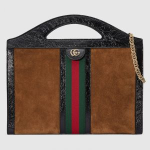 Gucci Chestnut Suede Ophidia Medium Top Handle Tote Bag
