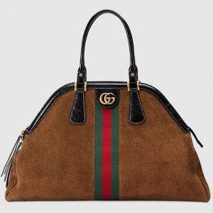 Gucci Chestnut Suede RE(BELLE) Large Top Handle Tote Bag