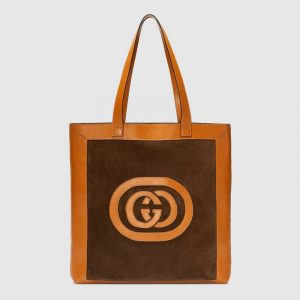 Gucci Cognac Suede Logo Ophidia Large Tote Bag