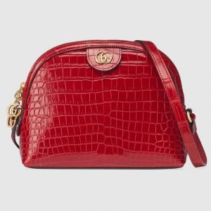 Gucci Hibiscus Red Crocodile Ophidia Dome Shaped Shoulder Bag