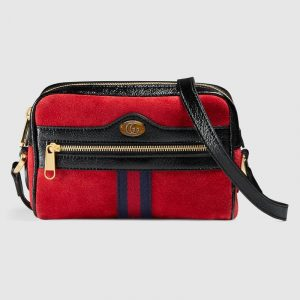 Gucci Hibiscus Red Suede Ophidia Mini Bag