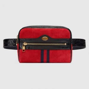 Gucci Hibiscus Red Suede Ophidia Small Belt Bag