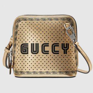 Gucci Metallic Gold Guccy Print Mini Shoulder Bag