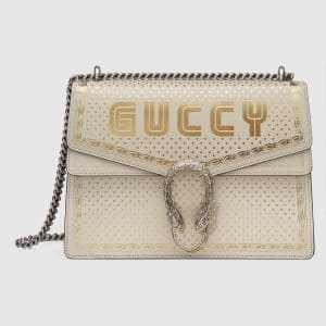 Gucci White Guccy Print Dionysus Medium Shoulder Bag