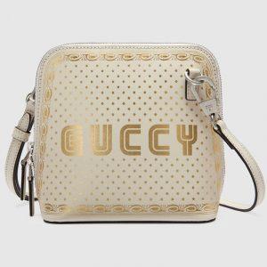 Gucci White Guccy Print Mini Shoulder Bag