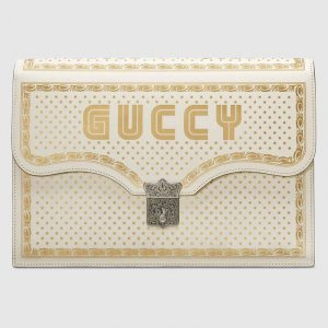 Gucci White Guccy Print Portfolio Bag