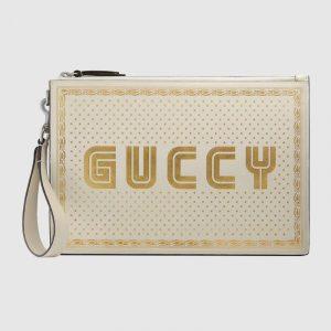 Gucci White Guccy Print Pouch Bag